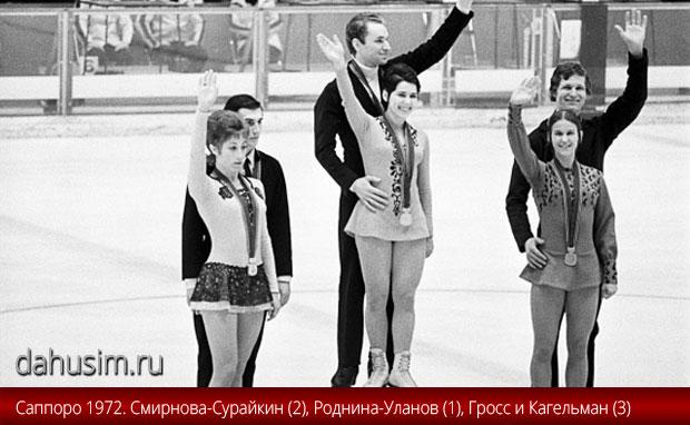 Саппоро 1972. Роднина-Уланов, Смирнова-Сурайкин, Гросс-Кагельман